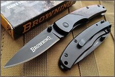 BROWNING WOOD HANDLE FOLDING KNIFE 3.75 INCH CLOSED WITH POCKET CLIP