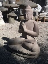 2ft Large Sculpted lava Stone japanese garden carved BUDDHA GARDEN STATUE