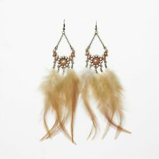 Bohemian Floral Natural Feather Dangle Earrings