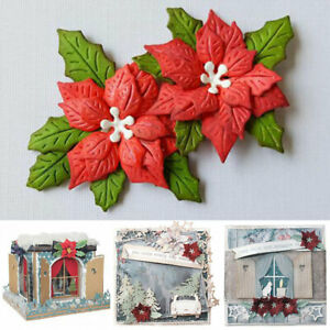 Christmas Poinsettia Flower Metal Cutting Dies Mold Embossing Dies Stencil Mould