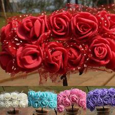 144Pcs / ENSEMBLE FLEURS ARTIFICIELLES Mousse Rose Bouquet Floral Mariage Fête