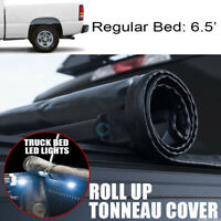 Fits 99-07 Silverado/Sierra 6.5 Ft Bed Roll-Up Soft Tonneau Cover+16X LED Lights