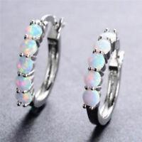 Stylish Silver Tone Women Rainbow Opal Inlaid Hoop Earring Charm Jewelry S