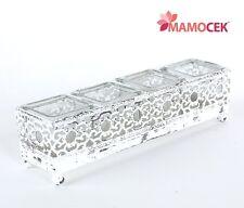 PORTACANDELA in metallo bianco 4 vasetti cm.30x8 decorazione casa tavola Shabby