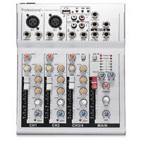 Consola de Mezcla de Sonido de 4 Canales Live Dj Audio Mixer con Conector U O1Q2