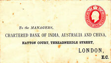 GB : CHARTERED BANK OF INDIA, AUSTRALIA & CHINA, EDW VII COVER (1900s)