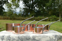 Copper Pans Vintage Delalande 1mm-1.4mm Set Five Graduated French Copper Pans