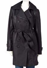 Dana Buchman Trench Coat BLACK M Womens Faux Leather Trim NEW