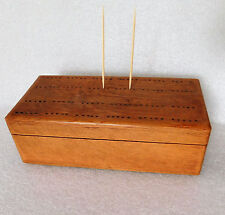 Vintage wood box for draughts dominoes cribbage score board pub card games EMPTY