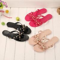 Summer Women's Slippers Flat Beach Flip Flops Clip Toe Bowknot Sandals Shoes New