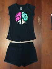 """Justice """"Awesome� Shirt Sz 10 & Black Children's Old Navy Shorts Sz 10/12"""
