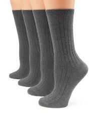 MIRMARU Women's Everyday 4Pairs Solid Colors Cotton Blend Casual Crew Socks.