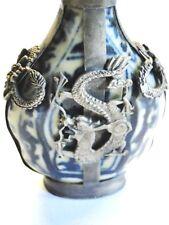 Early 1900's Oriental Porcelain & Silver Snuff Bottle  DRAGON motiffe