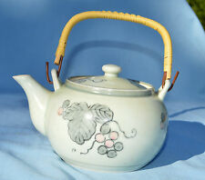 Vintage 1900's Arita Tea Pot Grapes and Leaves Japanese Pottery with Maker Mark