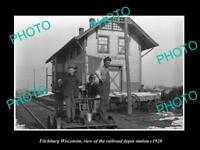 OLD LARGE HISTORIC PHOTO OF FITCHBURG WISCONSIN, RAILROAD DEPOT STATION c1920