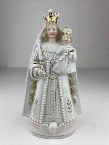 Große Antike Heiligenfigur aus Porzellan Skulptur Madonna Maria Kevelaer selten