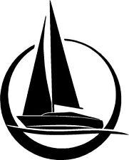 Vela velero marinas Silueta Sticker Etiqueta de vinilo gráfico Etiqueta Negra V1