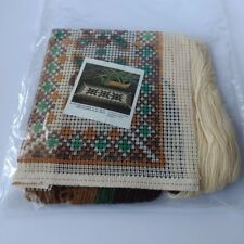 Cross Stitch Table plaid  Vintage Pattern 1960 1970 complete Yellow green brown