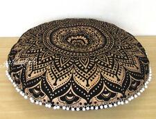 "32"" Handmade Black Golden Mandala Round Floor Pillow Cover Cushion Pouf Covers"