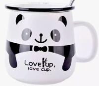 Love Up Love Cup Panda Ceramic Teacup Mug W/Lid & Teaspoon Gift Boxed Brand New!