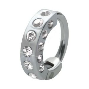 Piercing tragus ring crystal steel