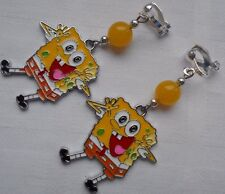Handmade Nickelodeon Spongebob Squerpants clip on earrings silver plated S02