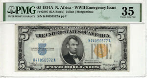 1934 A $5 SILVER CERTIFICATE NOTE NORTH AFRICA FR.2307 KA BLOCK PMG CHOICE VF 35
