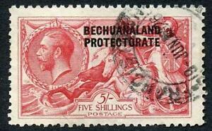 Bechuanaland SG89 5/- Bradbury Seahorse Fine used (wrinkle) cat 275 pounds
