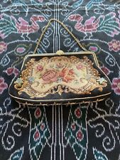 Antique Czech Petit Point Needlepoint Embroidered Bag Purse Beautiful Clasp