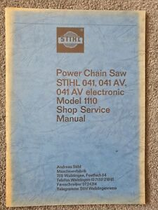 Stihl 041, 041AV and 041AVe chainsaw shop service manual. Old stock