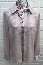 Marks & Spencer Blouse Shirt Size 14 Pink Chiffon Satin Trim Business Top Work