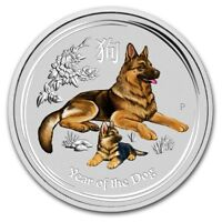 2018 ~ 1/2~OZ. .9999 SILVER ~ LUNAR  YEAR of the DOG ~ PERTH MINT ~COLOR~ $28.88