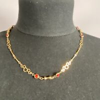 VINTAGE 70s Bar & Red Bead Chain Necklace Gold Tone Collar Length Retro Circles