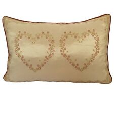 Satin/Chenille Twin Hearts/Love Embriodery Lumbar Pillow Case/Cushion Cover GIFT