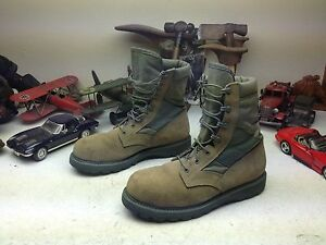 STEEL TOE MADE IN USA BELLVILLE GREEN LACE UP MILITARY COMBAT BOOTS 11 M