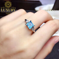 Natural Swiss Blue Topaz Gemstone Solid 925 Sterling Silver Anniversary Rings