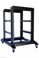 "15U 4 Post Open Frame 19"" Server Steel Rack 24"" Deep With Supporting rails"