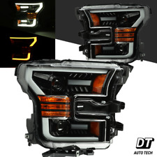 2015-2017 F-150 LED Tube Switchback Polished Black Projector Headlights Assembly