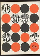 1973 ALCS Baseball Program Oakland A's at Baltimore Orioles EXMT
