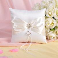 GB11c  New Ivory Bow Rhinestone Wedding Ceremony Satin Ring Bearer Pillow