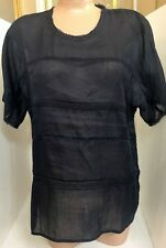Vince Shirt Navy Linen With Knit Panels NWT$265 Xs