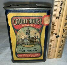 ANTIQUE COURT HOUSE TURMERIC SPICE TIN EARLY DETROIT MI GROCERY FOOD STORE CAN