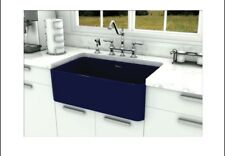Fireclay Farmhaus BLUE 30-Inch Duet Reversible Fireclay Sink w/Smooth Front