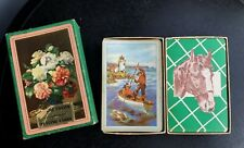 Vintage deck Pinochle playing cards horse equestrian fishing lighthouse complete