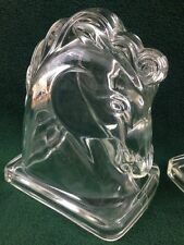 Vtg Federal Mid-Century Equestrian Trojan Horse Heads Glass Bookends