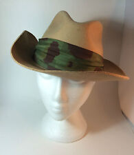 BILTMORE Fur Felt Hat VTG Made in Canada Size 7.5 Taupe Leather Brim Camo Band