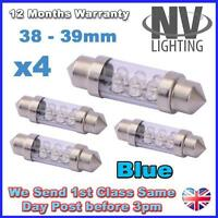 4x 38mm 39mm NUMBER PLATE INTERIOR LIGHT FESTOON BULB 6 LED 269 c5w  - BLUE