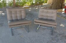 Pair Sexy Milo Baughman Style Leather Scoop Slipper Chairs W Chrome Frame