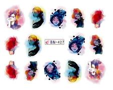 NAIL Art Decalcomanie Transfers Adesivi acquerello donna (db427)