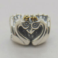 Authentic Sterling Silver Two Tone Swan Embrace Charm, fit European Bracelet